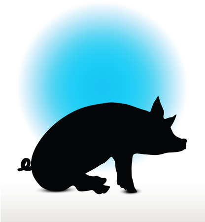 Vector Image, pig silhouette, in a seated position, isolated on white background