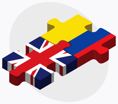 republic of ecuador: United Kingdom and Ecuador Flags in puzzle isolated on white background