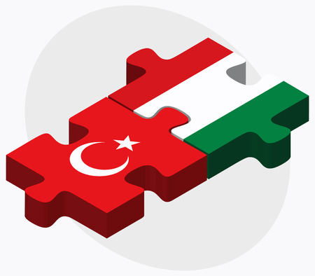 Turkey and Hungary Flags in puzzle isolated on white background