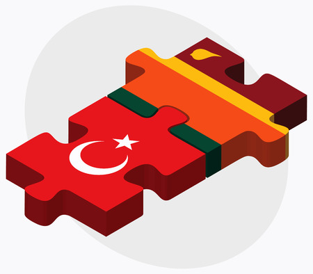 colombo: Turkey and Sri Lanka Flags in puzzle isolated on white background
