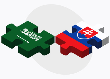 slovakian: Saudi Arabia and Slovakia Flags in puzzle isolated on white background