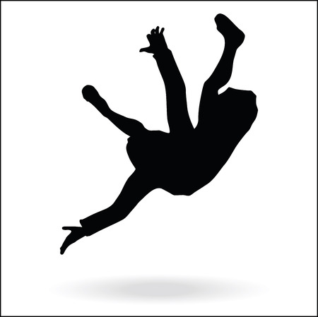middle east style dressed man silhouette - in falling pose