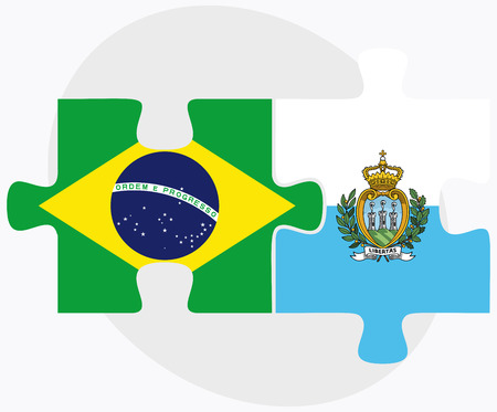 federative republic of brazil: Brazil and San Marino Flags in puzzle isolated on white background