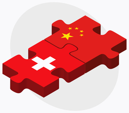 peoples republic of china: Switzerland and China Flags in puzzle  isolated on white background