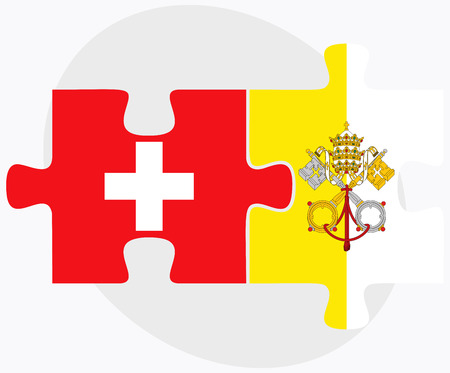 vatican city: Switzerland and Holy See - Vatican City State Flags in puzzle isolated on white background