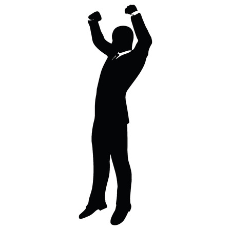 noteworthy: Vector Image - businessman silhouette in gorilla pose isolated on white background