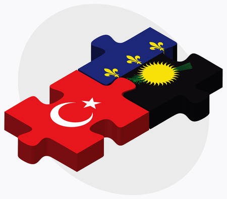 guadeloupe: Turkey and Guadeloupe Flags in puzzle isolated on white background