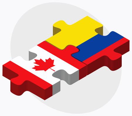 republic of ecuador: Canada and Ecuador Flags in puzzle isolated on white background