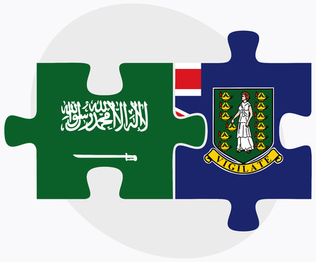 virgin islands: Saudi Arabia and Virgin Islands (British) Flags in puzzle isolated on white background