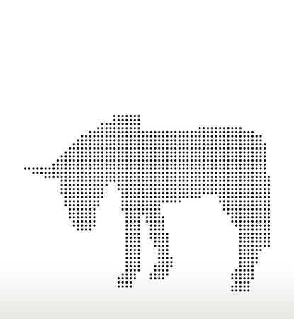 look down: Vector Image, donkey silhouette, in look down pose, isolated on white background