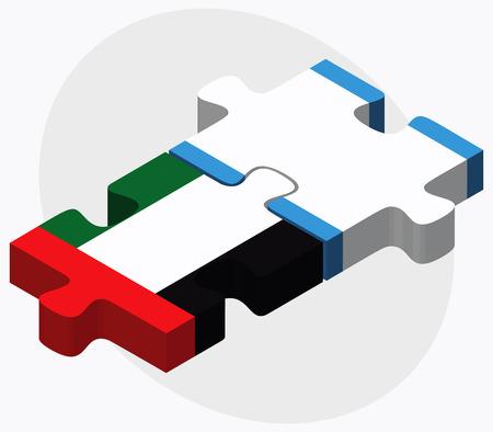 guatemalan: United Arab Emirates and Guatemala Flags in puzzle isolated on white background