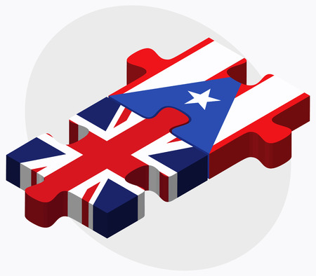 puerto rico: United Kingdom and Puerto Rico Flags in puzzle isolated on white background