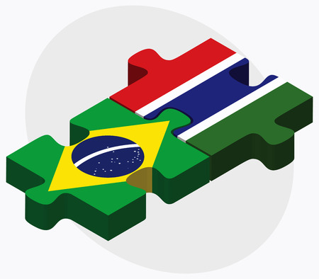 gambia: Brazil and Gambia Flags in puzzle isolated on white background Illustration