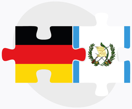 federal republic of germany: Germany and Guatemala Flags in puzzle isolated on white background