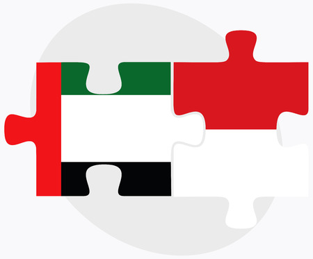 monegasque: United Arab Emirates and Monaco Flags in puzzle isolated on white background Illustration
