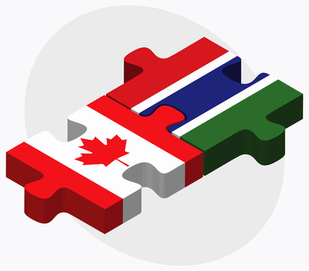gambia: Canada and Gambia Flags in puzzle isolated on white background
