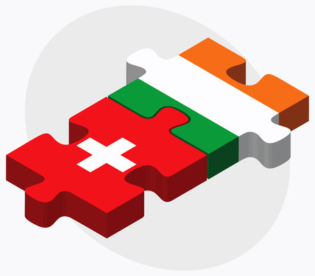 bandera irlanda: Suiza e Irlanda Banderas en rompecabezas aislados sobre fondo blanco