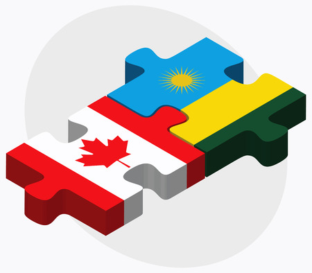 kigali: Canada and Rwanda Flags in puzzle isolated on white background
