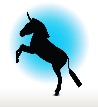 rear: Vector Image, donkey silhouette, in rear pose, isolated on white background