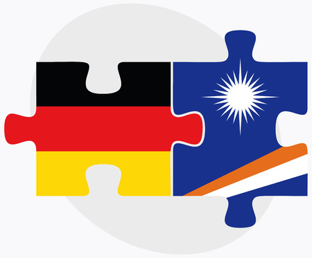 federal republic of germany: Germany and Marshall Islands Flags in puzzle isolated on white background