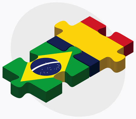 federative republic of brazil: Brazil and Chad Flags in puzzle  isolated on white background