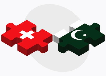 islamabad: Switzerland and Pakistan Flags in puzzle isolated on white background Illustration