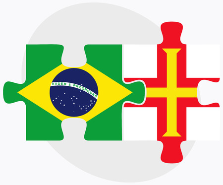 federative republic of brazil: Brazil and Guernsey Flags in puzzle isolated on white background