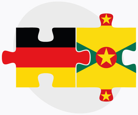 federal republic of germany: Germany and Grenada Flags in puzzle isolated on white background