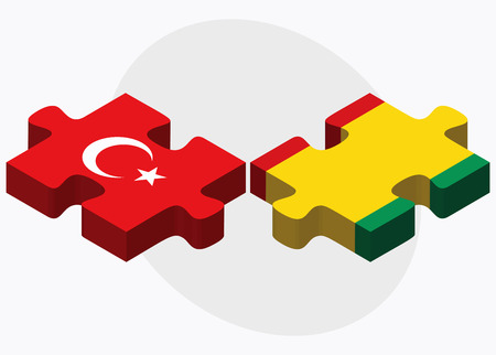 eurasian: Turkey and Guinea Flags in puzzle isolated on white background Illustration