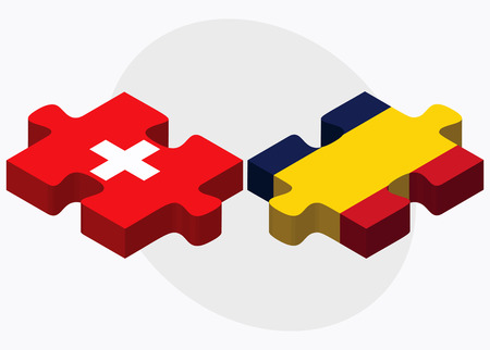 tchad: Switzerland and Chad Flags in puzzle  isolated on white background