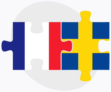 France and Sweden Flags in puzzle isolated on white background