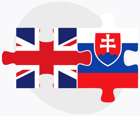 slovakian: United Kingdom and Slovakia Flags in puzzle isolated on white background
