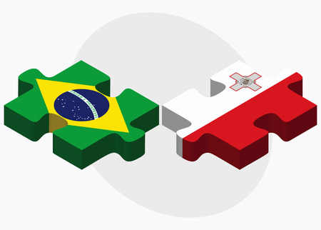 Brazil and Malta Flags in puzzle isolated on white background Illustration
