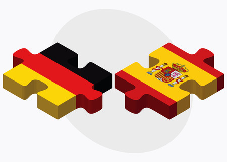 federal republic of germany: Germany and Spain Flags in puzzle isolated on white background