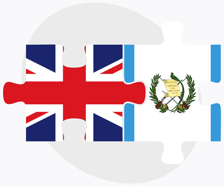 guatemalan: United Kingdom and Guatemala Flags in puzzle isolated on white background