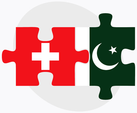 Switzerland and Pakistan Flags in puzzle isolated on white background Illustration