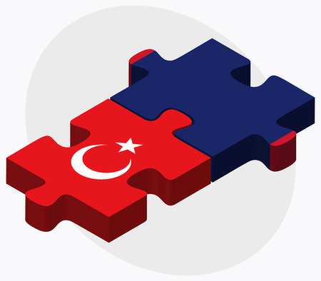 guam: Turkey and Guam Flags in puzzle isolated on white background Illustration