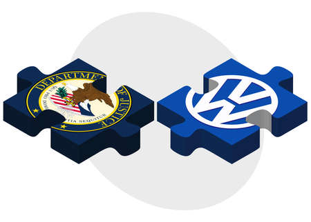 volkswagen: ISTANBUL, TURKEY - OCTOBER 21, 2015: United States Department of Justice and Volkswagen in puzzle form on white background. Illustration