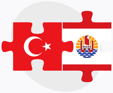 polynesia: Turkey and French Polynesia Flags in puzzle isolated on white background