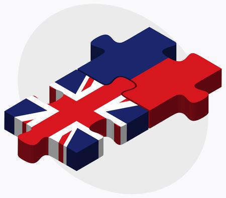 liechtenstein: United Kingdom and Liechtenstein Flags in puzzle isolated on white background Illustration