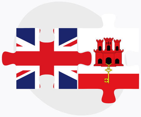gibraltar: United Kingdom and Gibraltar Flags in puzzle isolated on white background