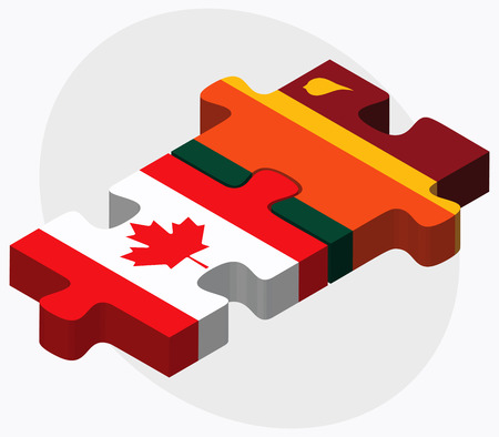 colombo: Canada and Sri Lanka Flags in puzzle isolated on white background