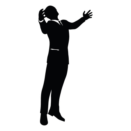 triumphant: Vector Image - businessman silhouette in gorilla pose isolated on white background
