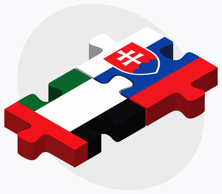 slovakian: United Arab Emirates and Slovakia Flags in puzzle isolated on white background