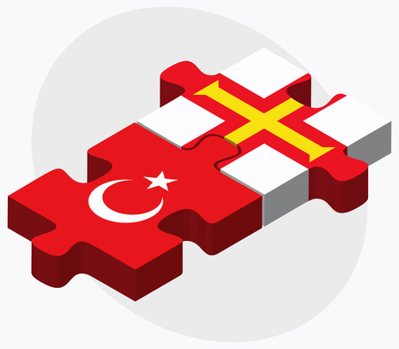 Turkey and Guernsey Flags in puzzle isolated on white background