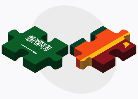 colombo: Saudi Arabia and Sri Lanka Flags in puzzle isolated on white background