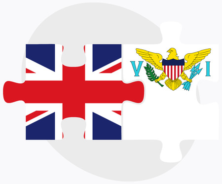 virgin islands: United Kingdom and Virgin Islands (U.S.) Flags in puzzle isolated on white background