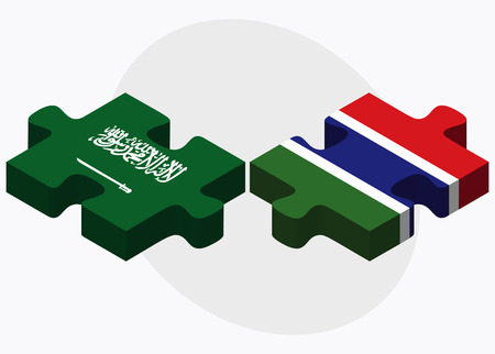 gambia: Saudi Arabia and Gambia Flags in puzzle isolated on white background