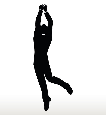beetling: illustration in silhouette of businessman hanging Illustration