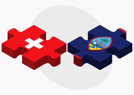 filipino: Switzerland and Guam Flags in puzzle isolated on white background